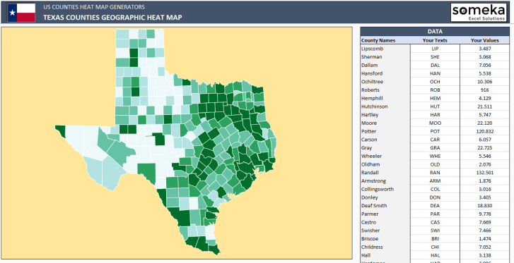 US Texas County Heat Map Generator - Excel Template - Someka SS5