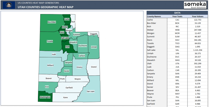 US Utah County Heat Map Generator - Excel Template - Someka SS11