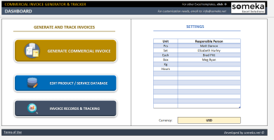 Commercial Invoice Generator & Tracker Excel Template