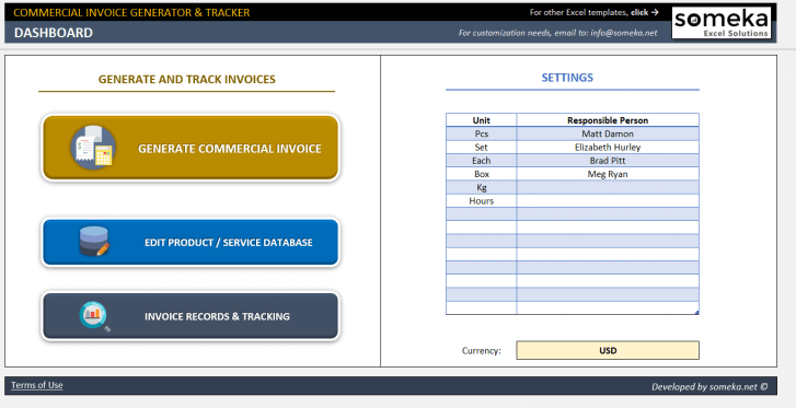 Excel Commercial Invoice Template - Someka SS01