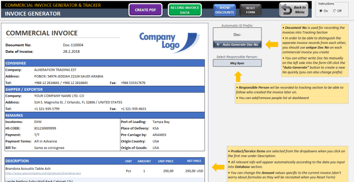 Excel Commercial Invoice Template - Someka SS02