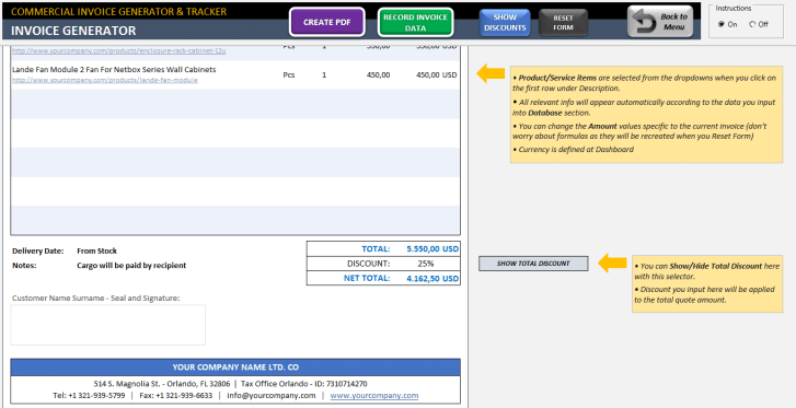 Excel Commercial Invoice Template - Someka SS03