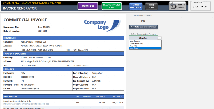 Excel Commercial Invoice Template - Someka SS05