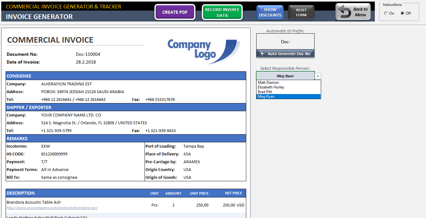 Commercial Invoice Template Excel Invoice Generator Tracker Tool