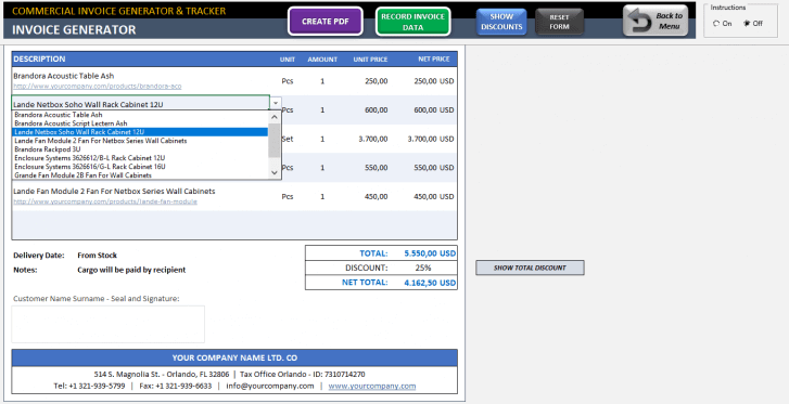 Excel Commercial Invoice Template - Someka SS06