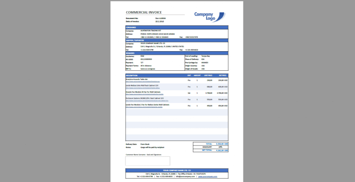 Excel Commercial Invoice Template - Someka SS07