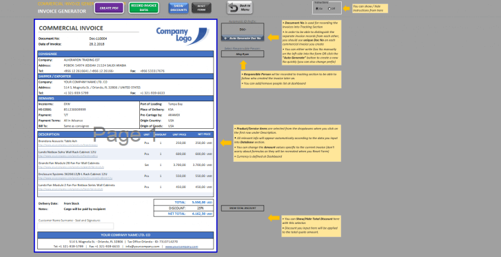 Excel Commercial Invoice Template - Someka SS10