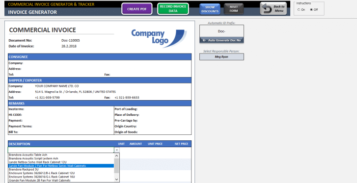 Excel Commercial Invoice Template - Someka SS11