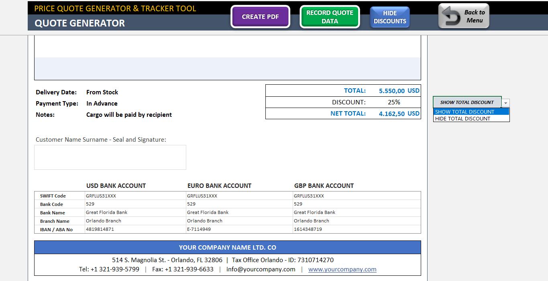 price quote template excel proforma invoice generator tracker tool