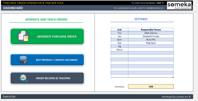 Excel Purchase Order Template - Someka SS01