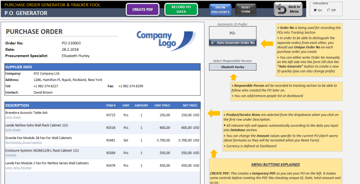 Excel Purchase Order Template - Someka SS02