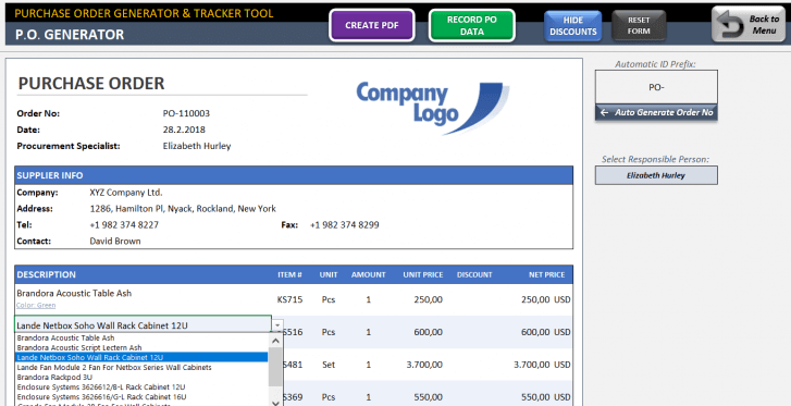 Excel Purchase Order Template - Someka SS05