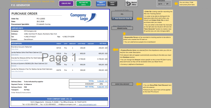 Excel Purchase Order Template - Someka SS10