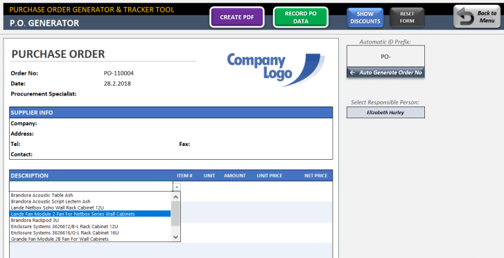 Excel Purchase Order Template - Someka SS11