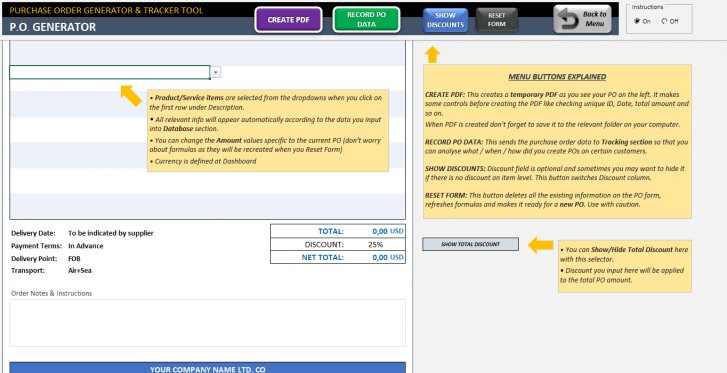 Excel Purchase Order Template - Someka SS12