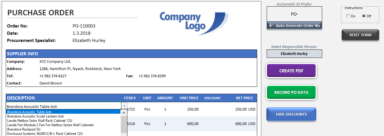 Excel Purchase Order Template - Someka TextSS1