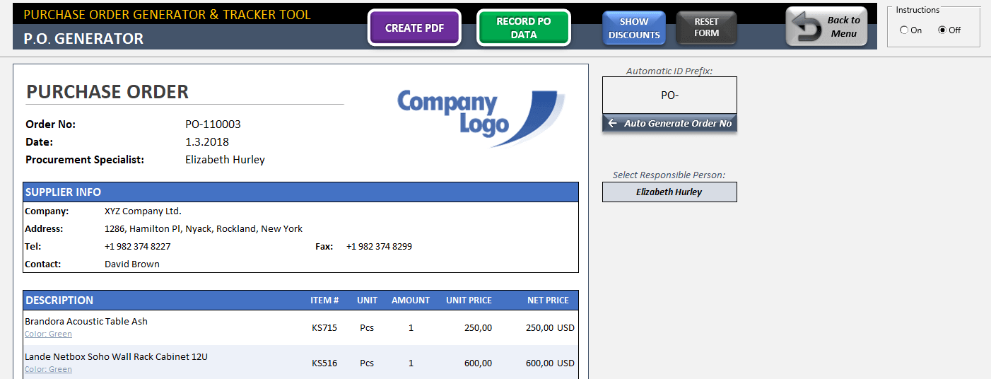 Excel Purchase Order Template - Someka TextSS2