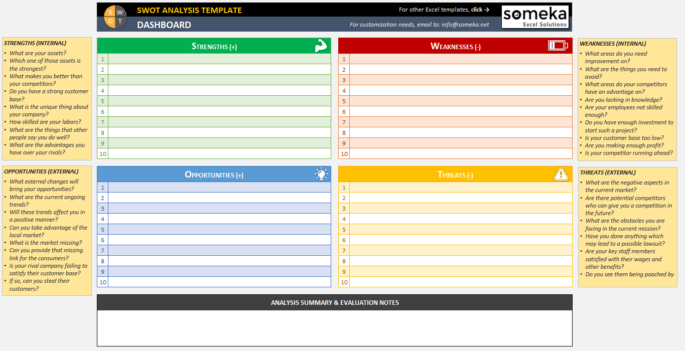 SWOT Analysis Template - Printable and Free Excel Spreadsheet