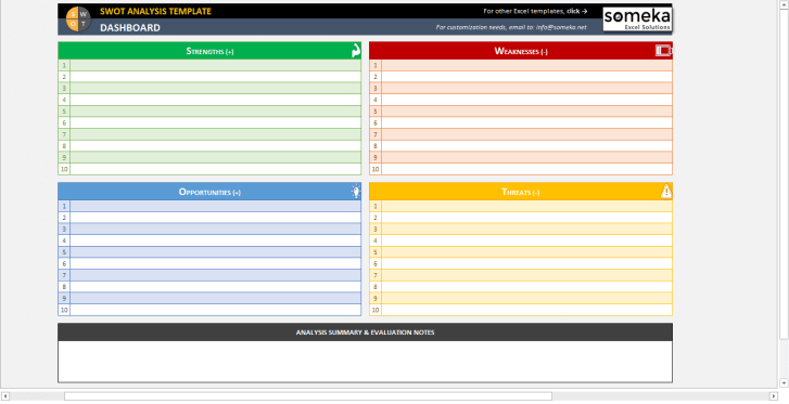 SWOT Analysis Template - Someka SS11