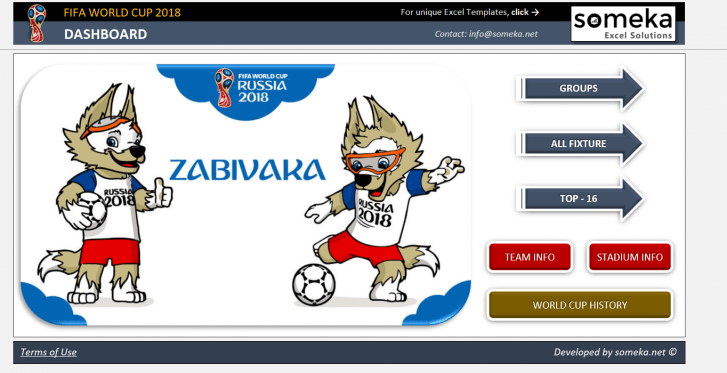 World Cup 2018 Excel Template - Someka SS01