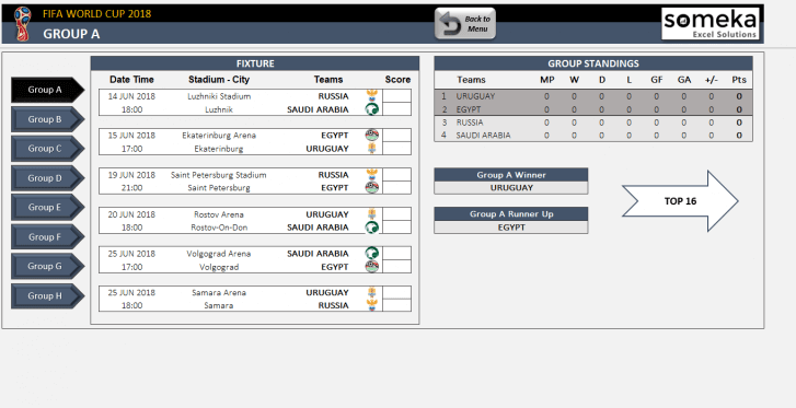 World Cup 2018 Excel Template - Someka SS02