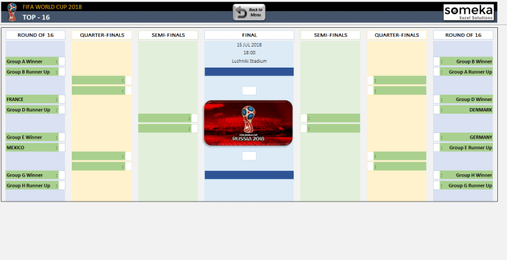 World Cup 2018 Excel Template - Someka SS05