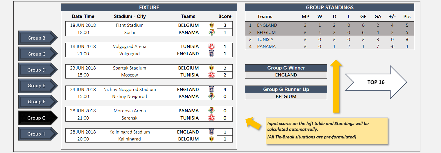 World Cup 2018 Excel Template - Someka TextSS01