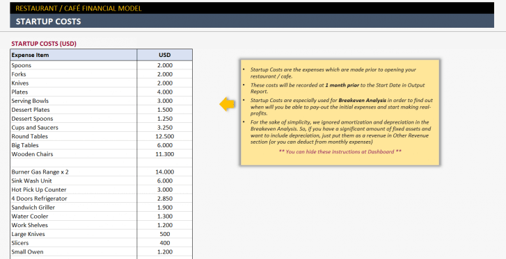 Restaurant Financial Plan Excel Template - Someka S04