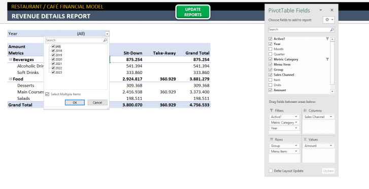 Restaurant Financial Plan Excel Template - Someka S10