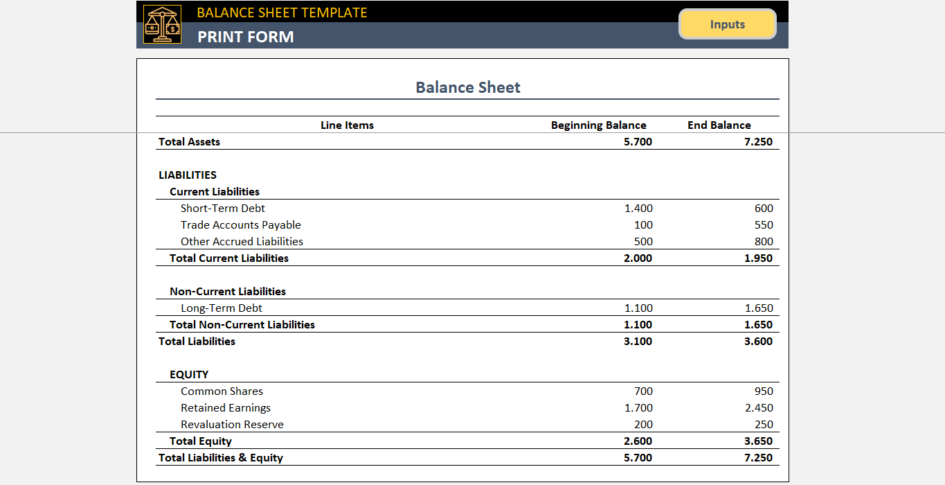 balance sheet template free accounting template in excel