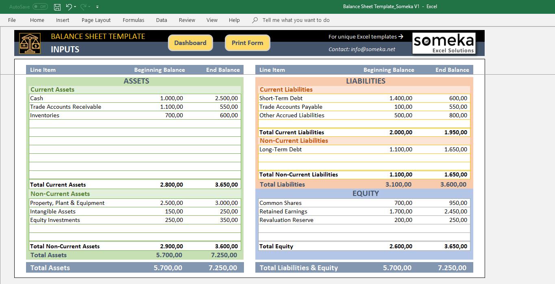 excel balance sheet template