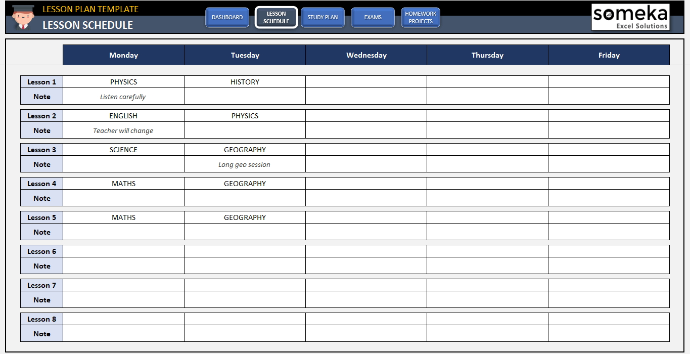 Student Lesson Plan Template Free Study Plan Template In Excel