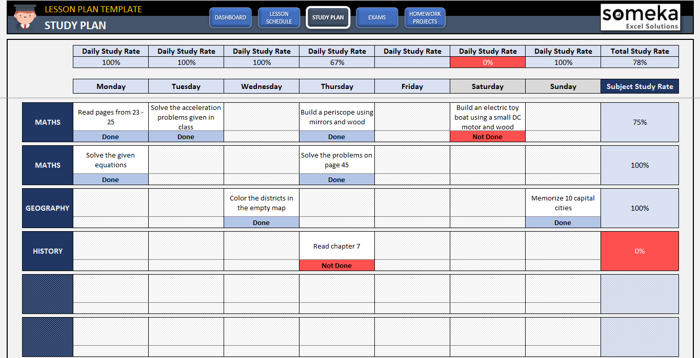 student lesson plan template