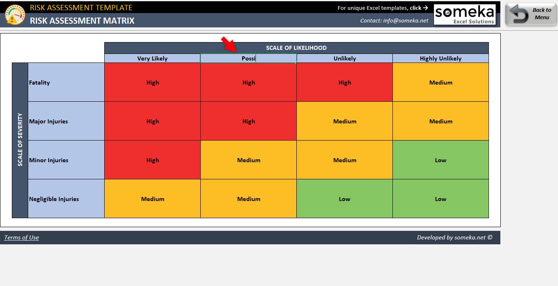 Risk Assessment Excel Template Hazard Identification In Excel