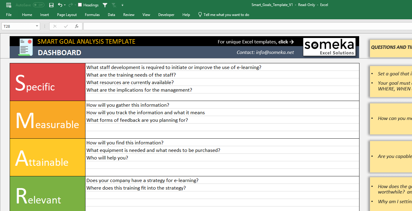 Smart Goals Template Free Excel Business Worksheet