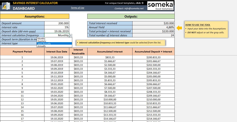 excel savings interest calculator