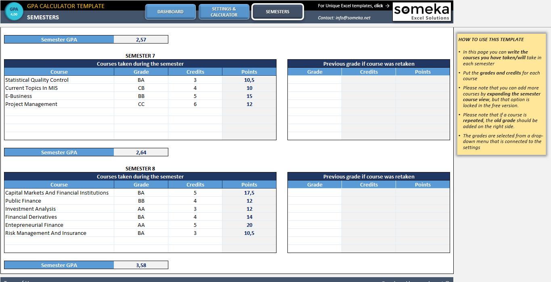 gpa calculator excel template