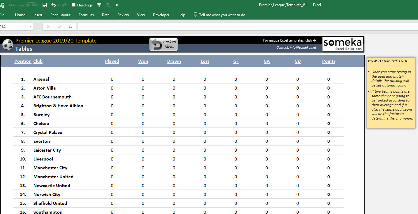 Premier League 2019/20 Excel Template
