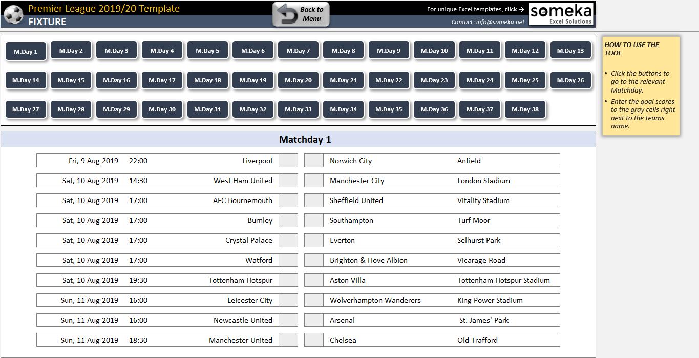 Premier League 2019/20 Excel Template