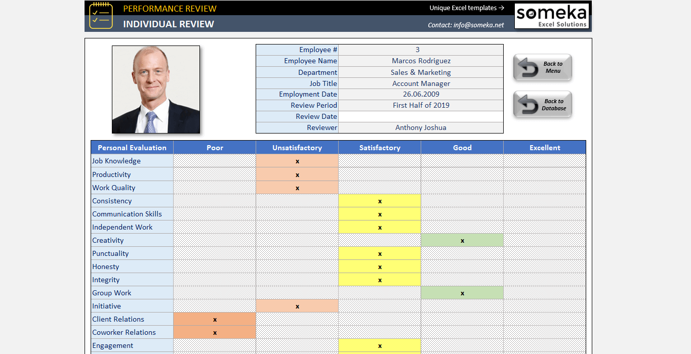 Employee Review Template | Employee Evaluation Form in Excel