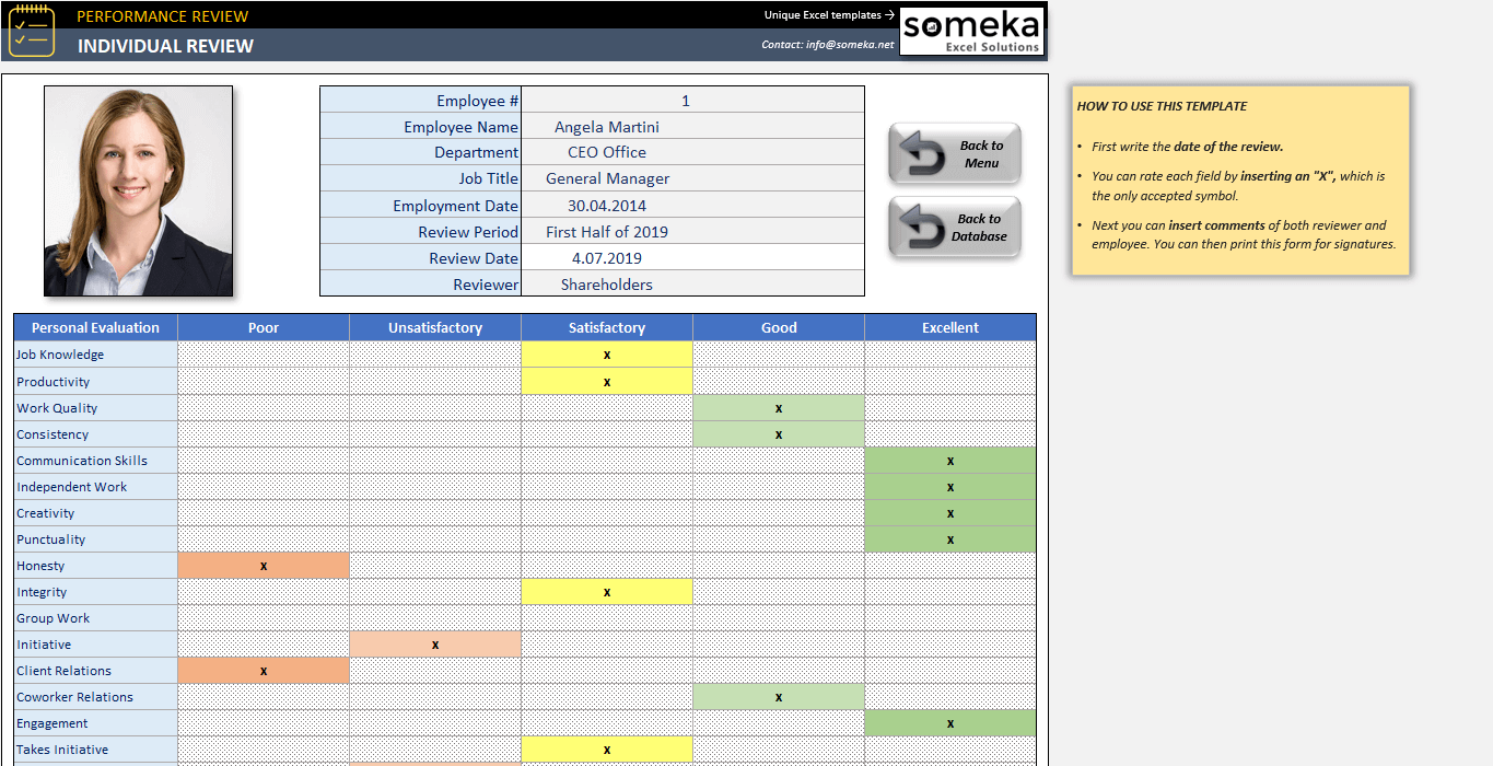 Employee Review Template   Employee Evaluation Form in Excel