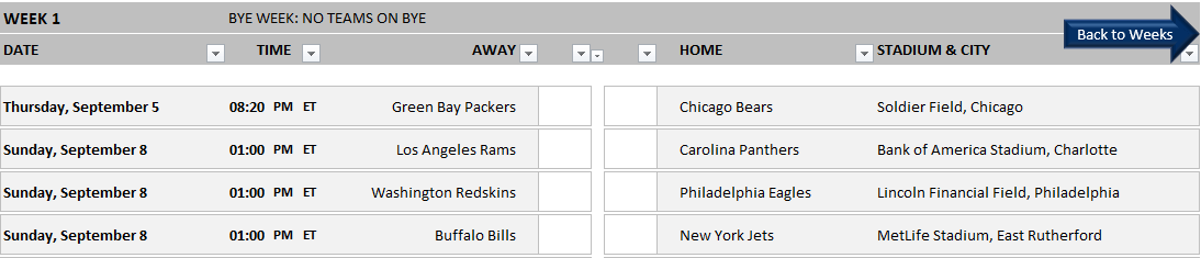 Calendrier Nfl 2020 2019.Nfl 2019 2020 Excel Template