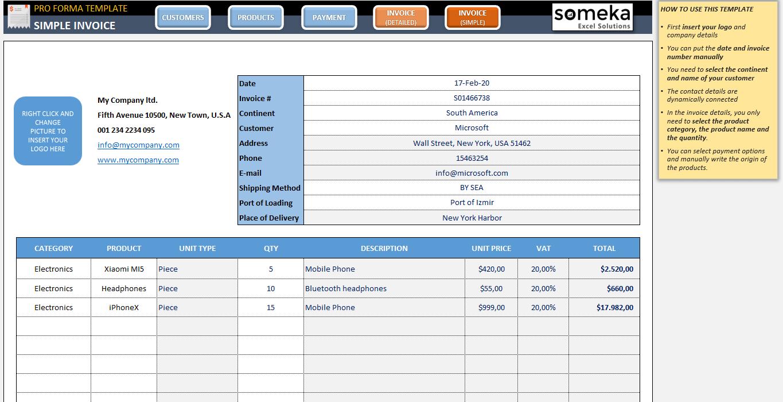 Proforma Invoice Template Printable Excel Invoice Template