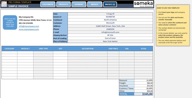 Proforma Invoice Template Free Sample Proforma Template In