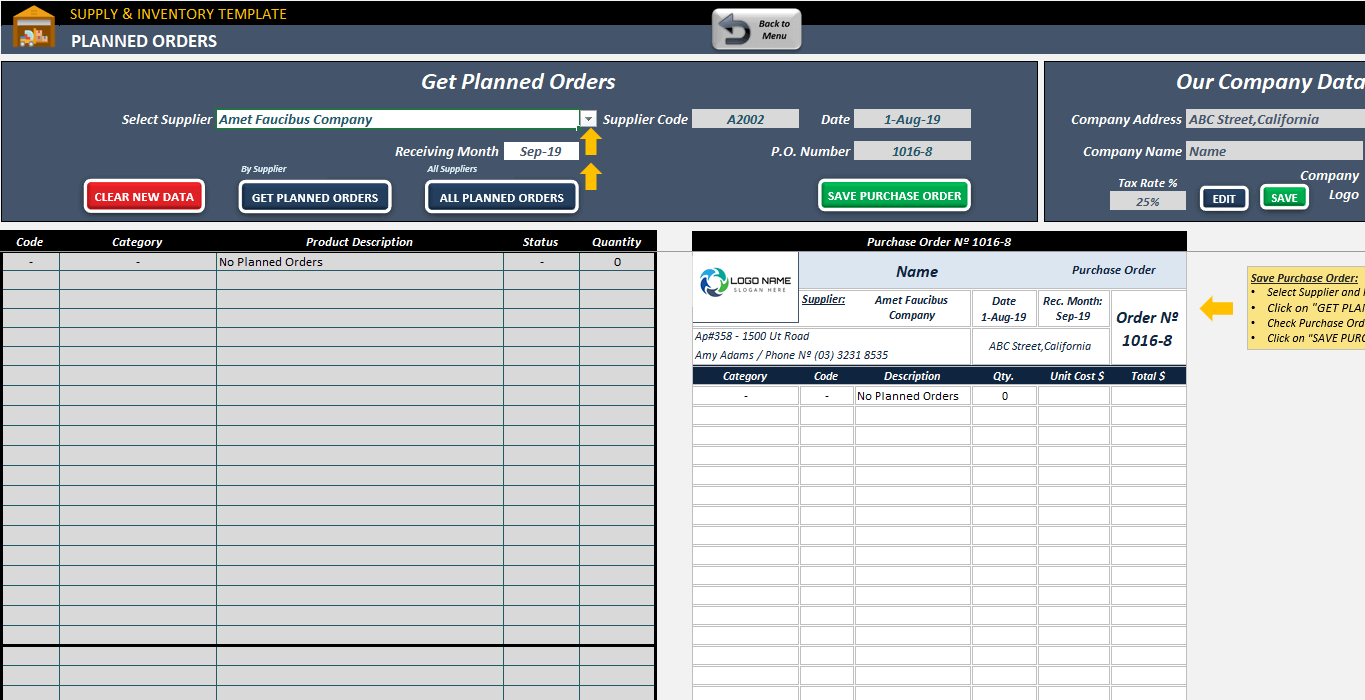 Supply & Inventory Planning Template | Inventory in Excel