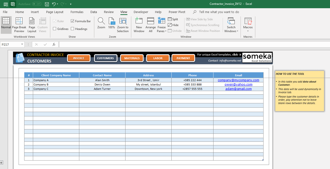 Contractor Invoice Excel Template Record Product Database