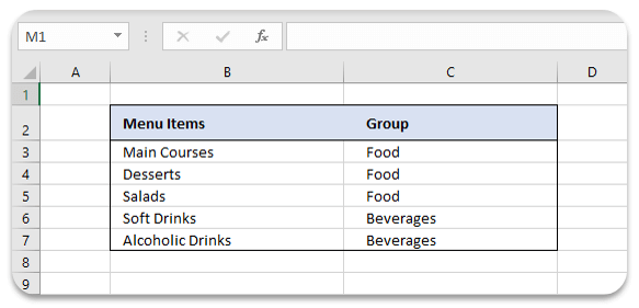 menu-items-in-excel