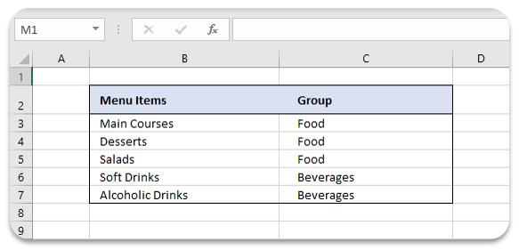 menu-items-in-excel