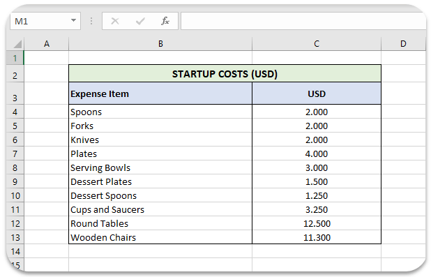 startup-costs-in-excel