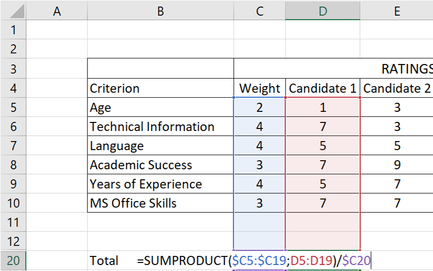 how-to-make-decision-matrix-in-excel-S11